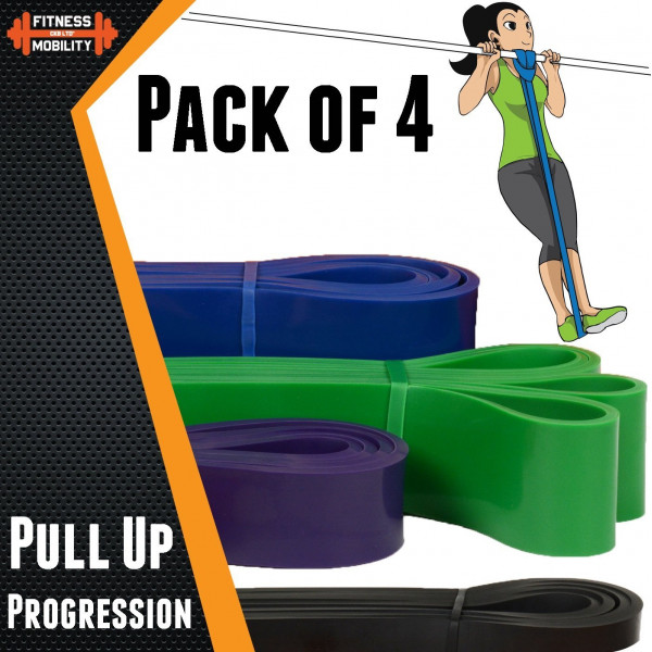 4 x Strong Resistance Bands - Pull Up Bands – Högsta kvalité (13,6 - 68 kg)